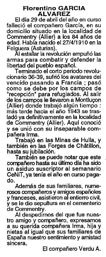 """Necrològica de Florentino García Álvarez publicada en el periòdic tolosà """"Cenit"""" del 21 de juny de 1994"""