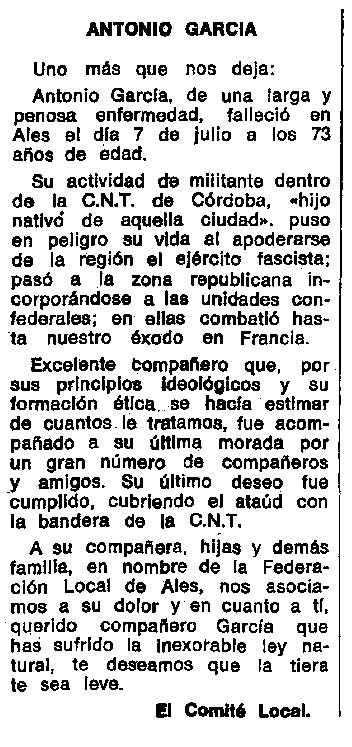 """Necrològica d'Antonio García Jiménez apareguda en el periòdic tolosà """"Espoir"""" de l'11 de novembre de 1973"""