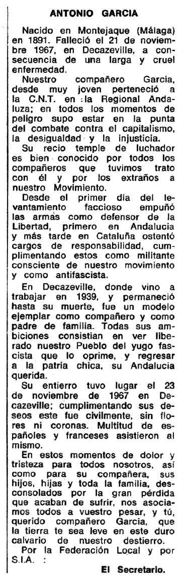 """Necrològica d'Antonio García apareguda en el periòdic tolosà """"Espoir"""" del 24 de desembre de 1967"""