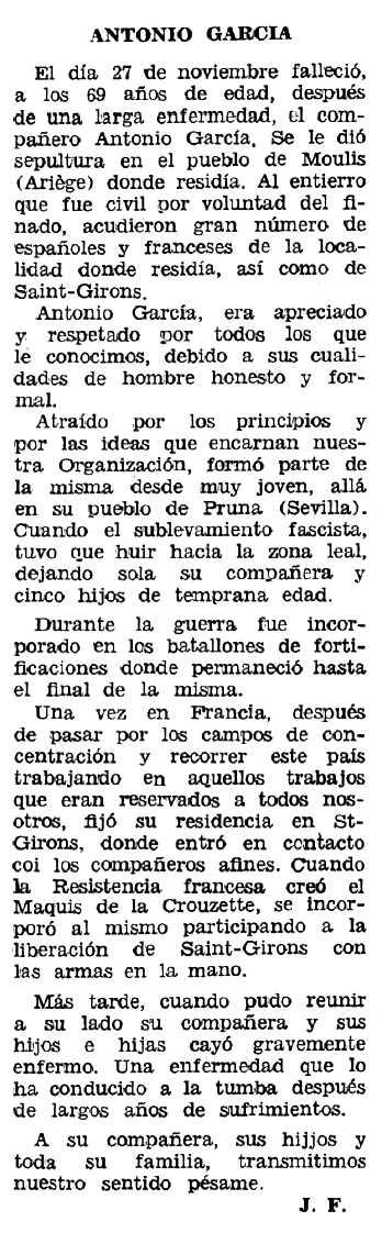 """Necrològica d'Antonio García Vera publicada en el periòdic tolosà """"Espoir"""" del 10 de gener de 1971"""