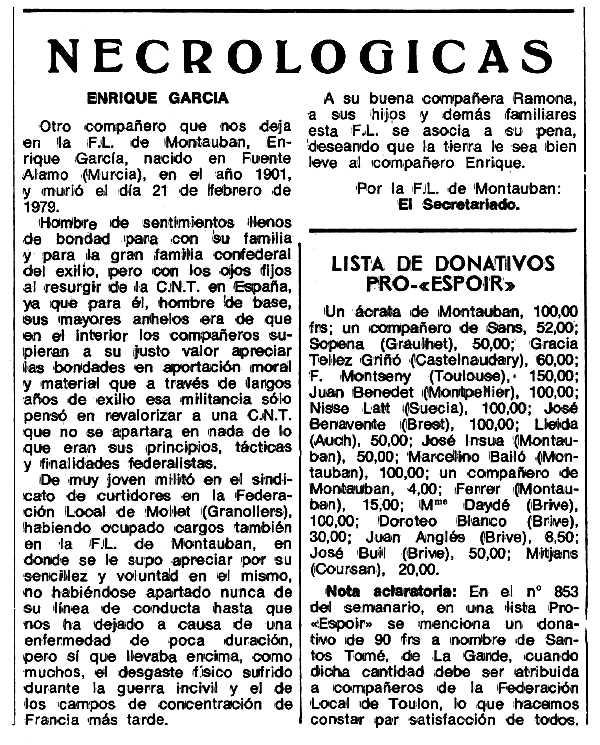 """Necrològica d'Enrique García García apareguda en el periòdic tolosà """"Espoir"""" del 24 d'abril de 1979"""