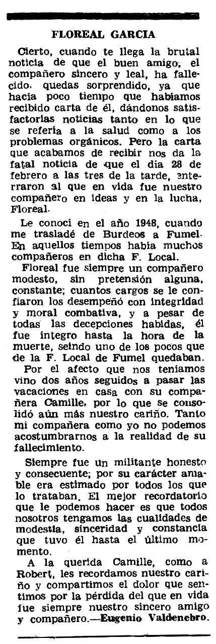 """Necrològica de Floreal García apareguda en el periòdic parisenc """"Le Combat Syndicaliste"""" del 3 d'abril de 1975"""