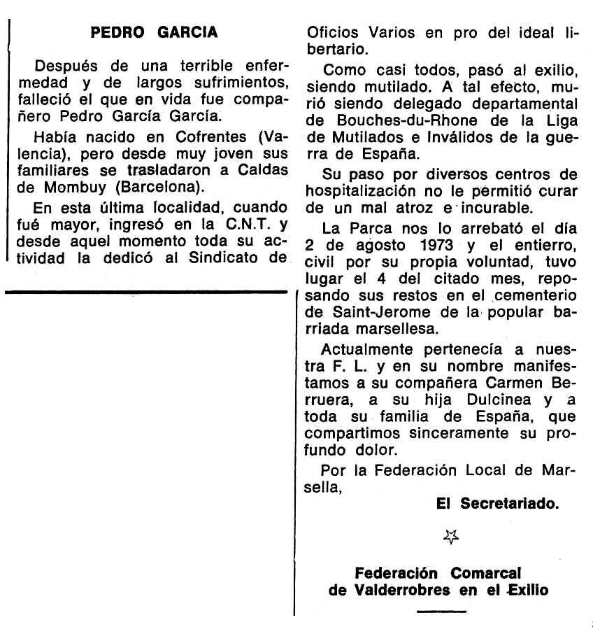 """Necrològica de Pedro García García apareguda en el periòdic tolosà """"Espoir"""" del 18 de novembre de 1973"""