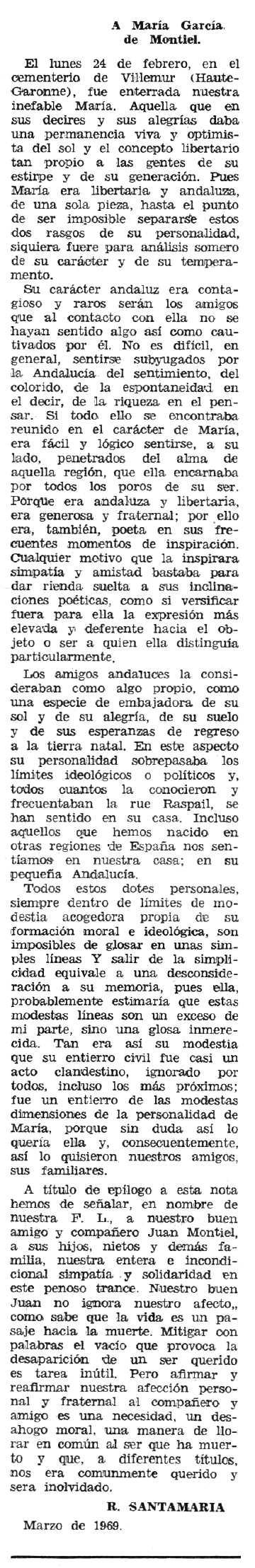 """Necrològica de María García García apareguda en el periòdic tolosà """"Espoir"""" de l'11 de maig de 1969"""
