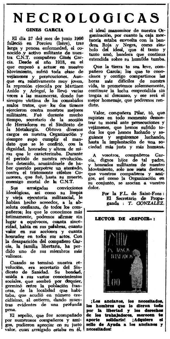 """Necrològica de Ginés García apareguda en el periòdic tolosà """"Espoir"""" del 12 de març de 1967"""