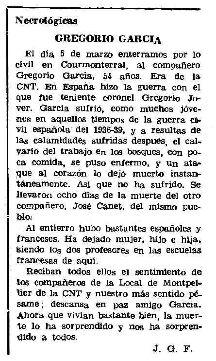 """Necrològica de Gregorio García apareguda en el periòdic parisenc """"Le Combat Syndicaliste"""" del 28 de març de 1974"""