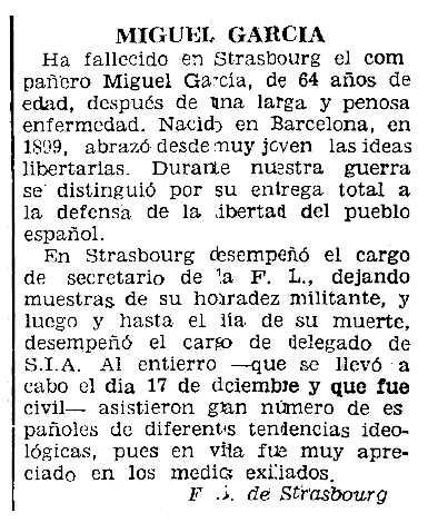 """Necrològica de Miguel García Jardiel apareguda en el periòdic parisenc """"Le Combat Syndicaliste"""" del 9 de gener de 1964"""