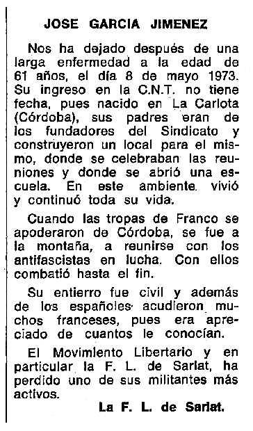 "Necrològica de José García Jiménez apareguda en el periòdic tolosà ""Espoir"" del 28 d'octubre de 1973"