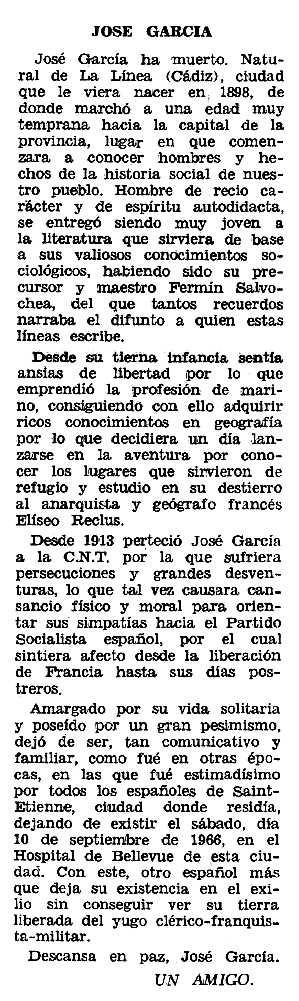 """Necrològica de José García apareguda en el periòdic tolosà """"Espoir"""" del 20 de novembre de 1966"""