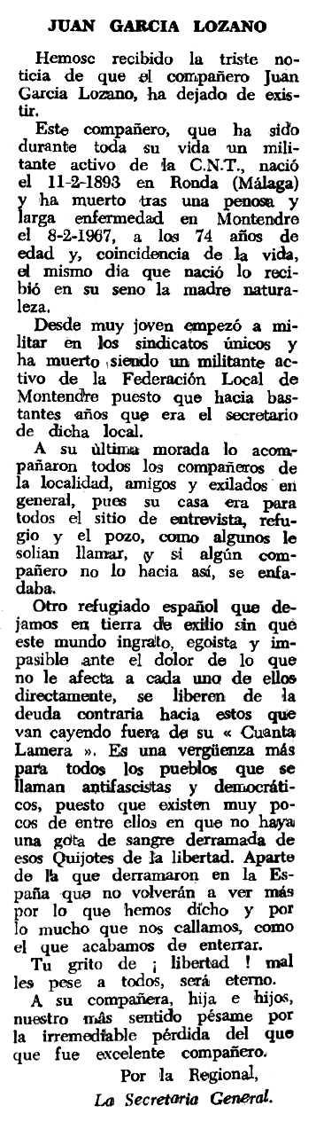 """Necrològica de Juan García Lozano apareguda en el periòdic tolosà """"Espoir"""" del 18 de juny de 1967"""