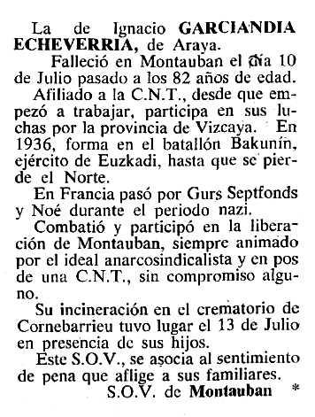 """Necrològica d'Ignacio Garciandía Echavarría apareguda en el periòdic tolosà """"Cenit"""" del 20 de setembre de 1983"""