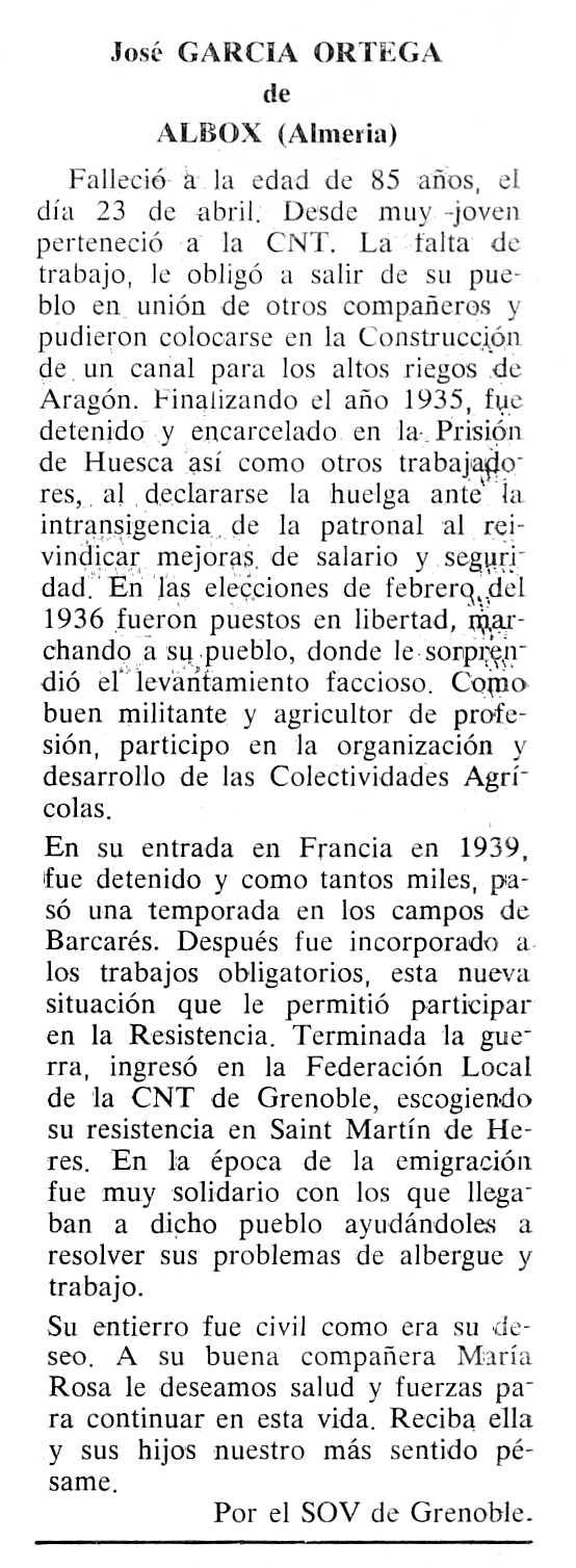 """Necrològica de José García Ortega publicada en el periòdic tolosà """"Cenit"""" del 26 de setembre de 1989"""