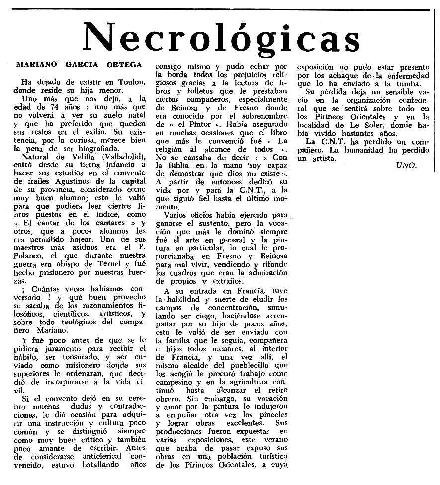 """Necrològica de Mariano García Ortega apareguda en el periòdic tolosà """"Espoir"""" del 19 de desembre de 1965"""