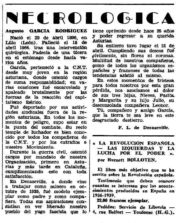 """Necrològica d'Augusto García Rodríguez apareguda en el periòdic tolosà """"Espoir"""" 14 de juny de 1964"""