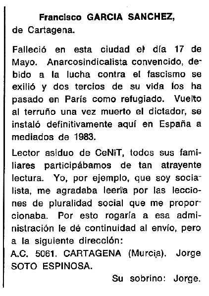 """Necrològica de Francisco García Sánchez apareguda en el periòdic tolosà """"Cenit"""" del 7 d'octubre de 1986"""