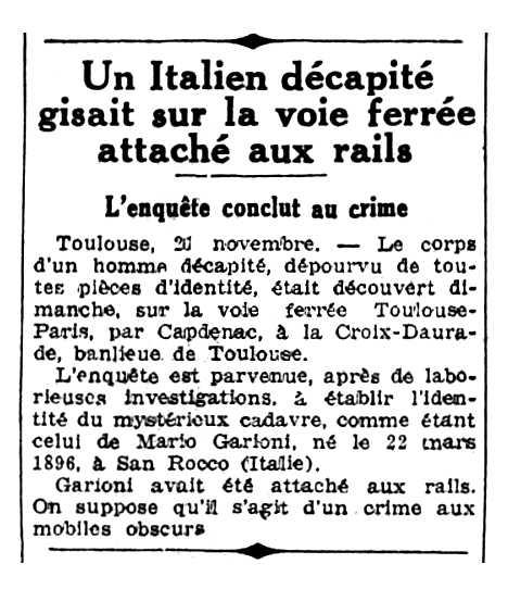 """Noticía sobre la mort de Mario Garioni apareguda en el periòdic parisenc """"Le Populaire"""" del 22 de novembre de 1935"""