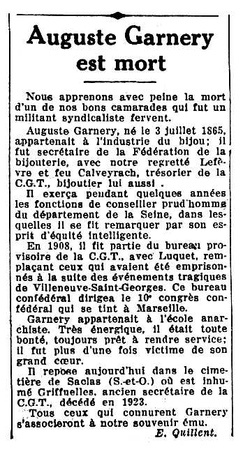 "Necrològica d'Auguste Garnéry apareguda en el diari parisenc ""Le Populaire"" del 16 d'abril de 1935"