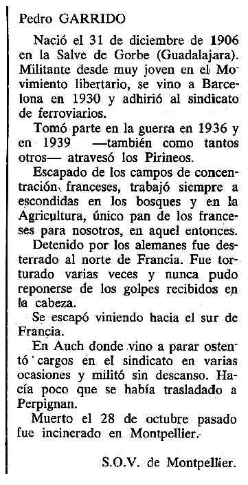 """Necrològica de Pedro Garrido Muñoz apareguda en el periòdic tolosà """"Cenit"""" del 21 de gener de 1986"""