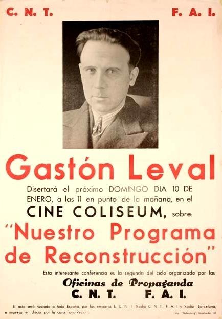 Cartell anunciador d'una xerrada de Gastón Leval a Barcelona (1937)