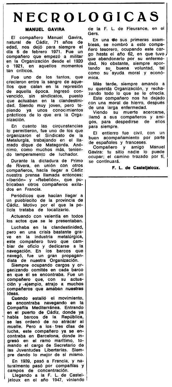 "Necrològica de Manuel Gavira Castillo apareguda en el periòdic tolosà ""Espoir"" del 23 de maig de 1971"