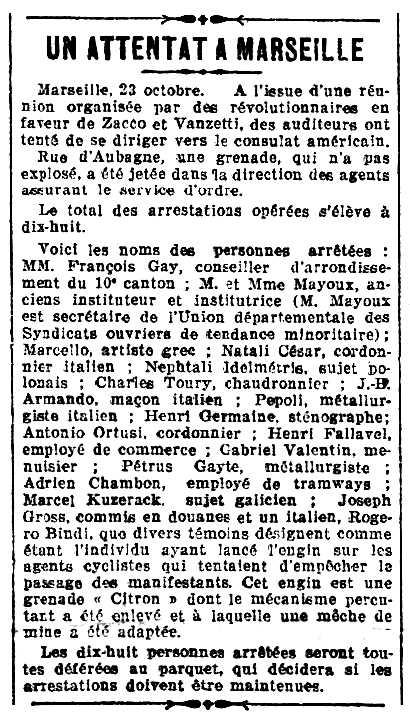 """Notícia de la detenció de Petrus Gayte apareguda en el diari parisenc """"La Lanterne"""" del 24 d'octubre de 1921"""