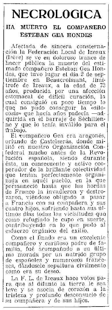 """Negrològica d'Esteban Gea Hondes apareguda en el periòdic tolosà """"CNT"""" del 9 de setembre de 1954"""