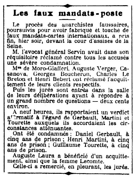 """Notícia sobre el judici a Daniel Gerbault apareguda en el diari parisenc """"Le Petit Journal"""" del 6 d'abril de 1910"""