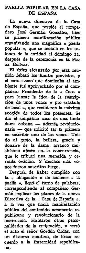 """Notícia sobre José Germán González apareguda en el periòdic parisenc """"España Libre"""" apareguda el 17 de maig de 1959"""