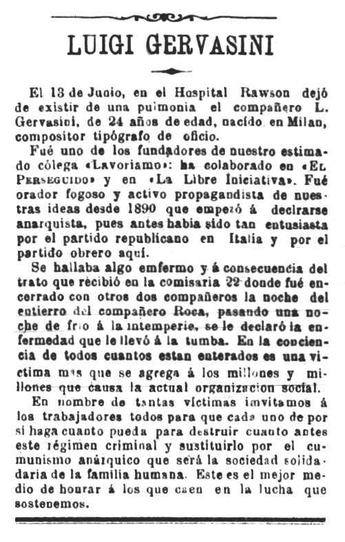 """Necrològica de Luigi Gervasini apareguda en el periòdic de Buenos Aires """"El Perseguido"""" del 16 de juliol de 1893"""