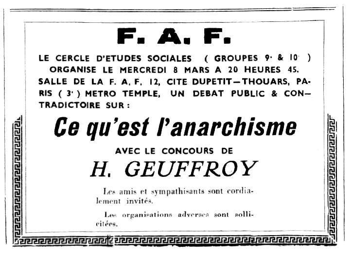 """Convocatòria d'un acte d'Henri Geuffroy publicada en el periòdic parisenc """"Terre Libre"""" del març de 1939"""