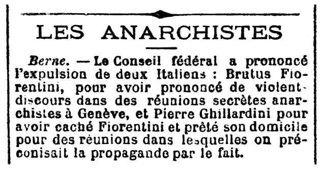 """Notícia sobre l'expulsió de Pietro Ghillardini apareguda en el periòdic parisenc """"Le Rappel"""" del 31 de geneer de 1895"""