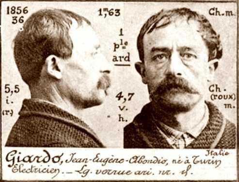 Foto policíaca de Giovanni Giardo (ca. 1894)