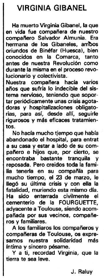"""Necrològica de Virginia Gibanel Lacambra apareguda en el periòdic tolosà """"Espoir"""" del 26 de juliol de 1981"""