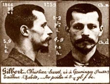 Foto policíaca de Christian Gilbert (ca. 1894)