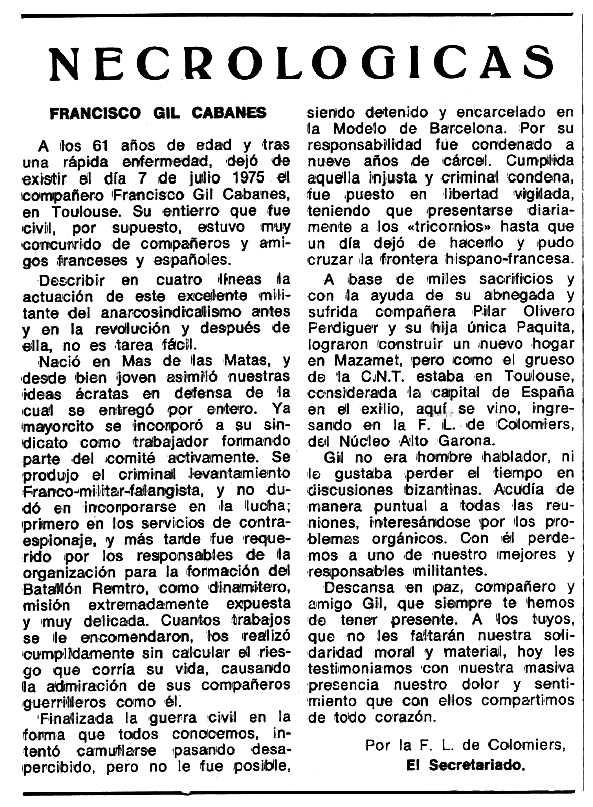 "Necrològica de Francisco Gil Cabanes apareguda en el periòdic tolosà ""Espoir"" del 29 de febrer de 1976"