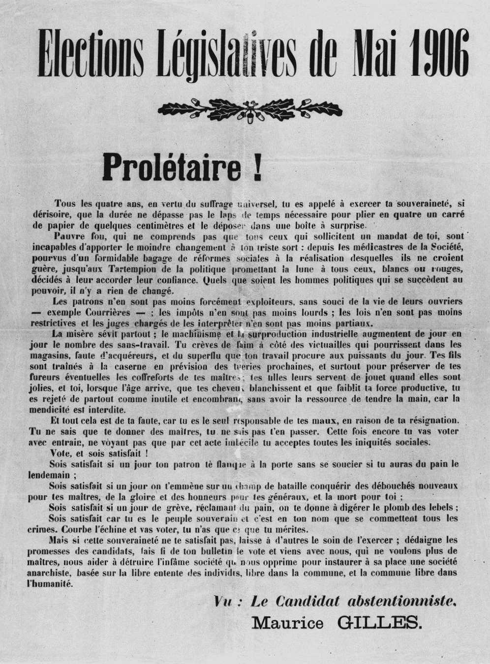 "Manifest abstencionista de Maurice Gilles aparegut en el primer número de ""La Révolte"" d'Alger de l'1 de maig de 1906"