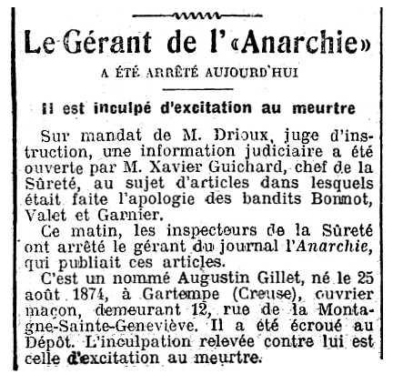 """Notícia de la detenció d'Augustin Gillet apareguda en el diari parisenc """"La Presse"""" del 25 de maig de 1912"""