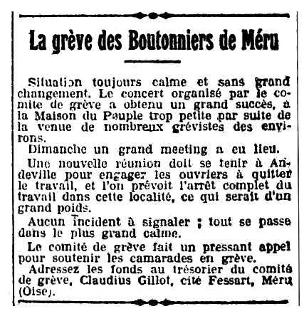 """Notícia sobre Claudius Gillot apareguda en el diari parisenc """"Le Populaire"""" del 13 de desembre de 1921"""