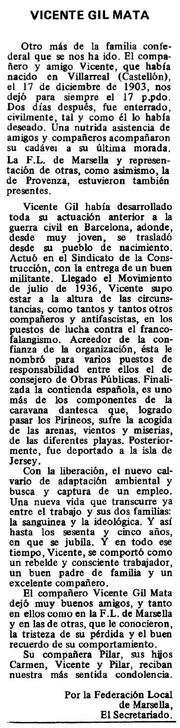 """Necrològica de Vicent Gil Mata apareguda en el periòdic tolosà """"Espoir"""" del 2 de novembre de 1980"""