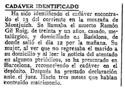 "Notícia sobre la mort de Ramon Gil Roig apareguda en el diari madrileny ""ABC"" del 18 d'abril de 1923"