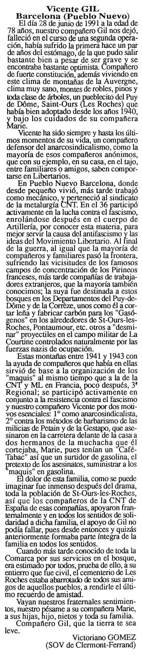 """Necrològica de Vicent Gil Álvaro apareguda en el periòdic parisenc """"Cenit"""" de l'1 d'octubre de 1991"""