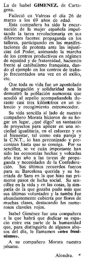 """Necrològica d'Isabel Giménez Galeras apareguda en el periòdic tolosà """"Cenit"""" del 26 de juny de 1984"""