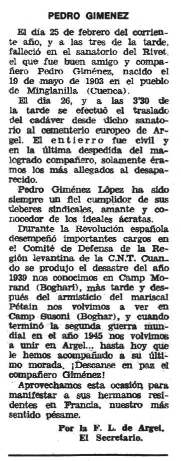 "Necrològica de Pedro Giménez López apareguda en el periòdic tolosà ""Espoir"" del 12 d'abril de 1970"