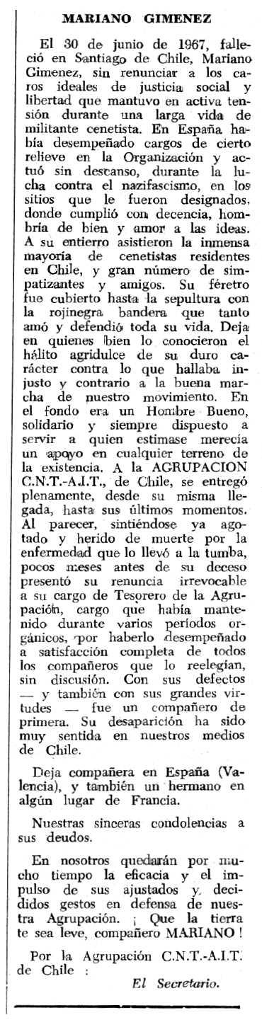 "Necrològica de Mariano Giménez apareguda en el periòdic tolosà ""Espoir"" del 5 de novembre de 1967"