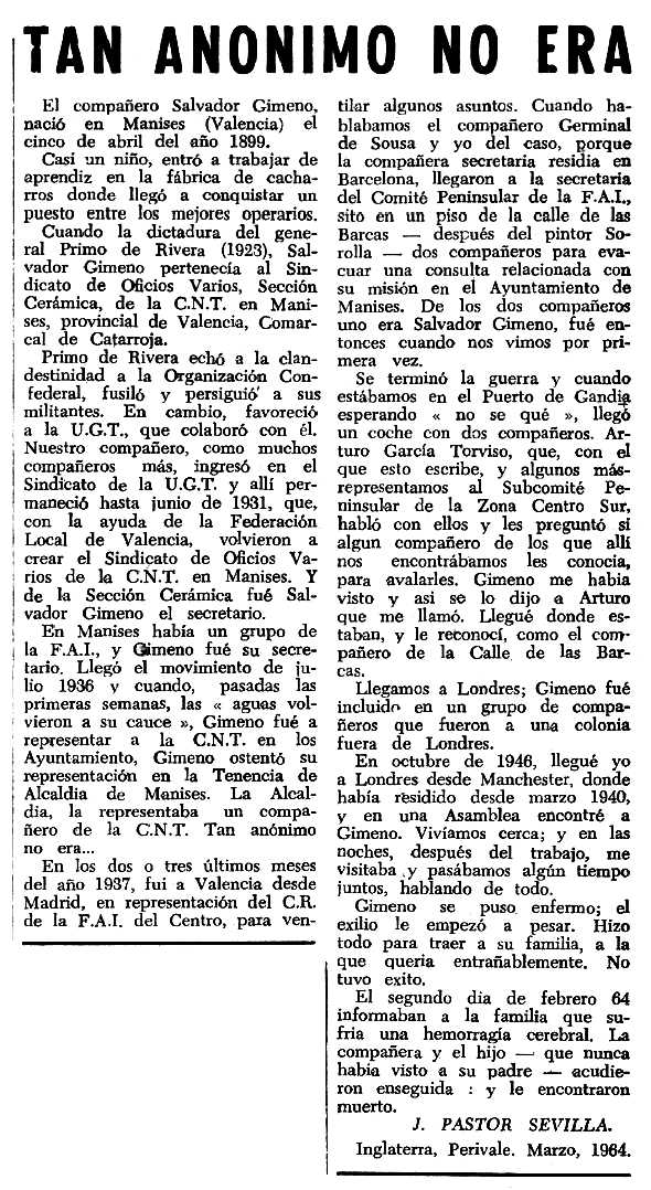 """Necrològica de Salvador Gimeno Gimeno apareguda en el periòdic tolosà """"Espoir"""" del 15 de març de 1964"""