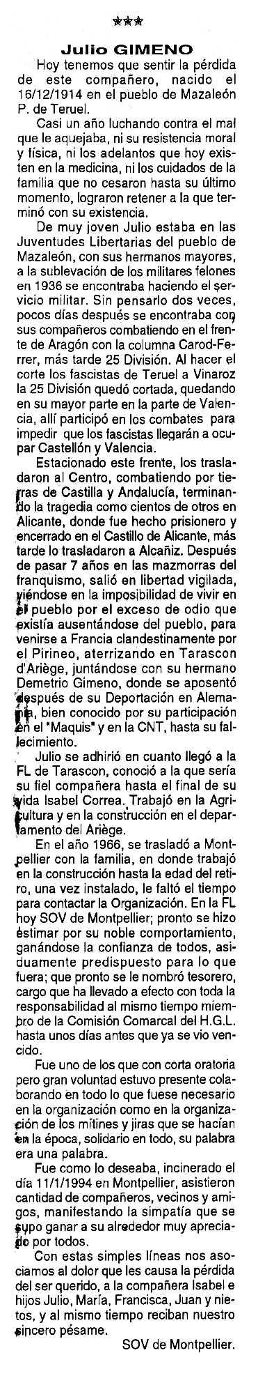 """Necrològica de Julio Gimeno Timoneda apareguda en el periòdic tolosà """"Cenit"""" del 12 de febrer de 1994"""