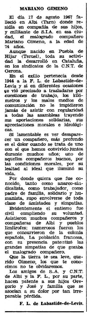 """Necrològica de Mariano Gimeno Pablo apareguda en el periòdic tolosà """"Espoir"""" del 5 de novembre de 1967"""