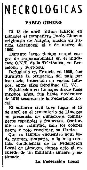 """Necrològica de Pablo Gimeno Valero apareguda en el periòdic parisenc """"Le Combat Syndicaliste"""" del 17 de juny de 1976"""