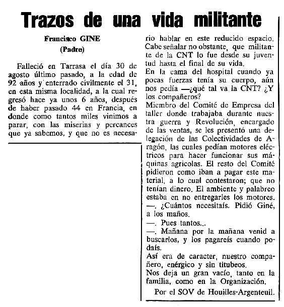 """Necrològica de Francesc Giné Ribera apareguda en el periòdic tolosà """"Cenit"""" del 3 d'octubre de 1989"""
