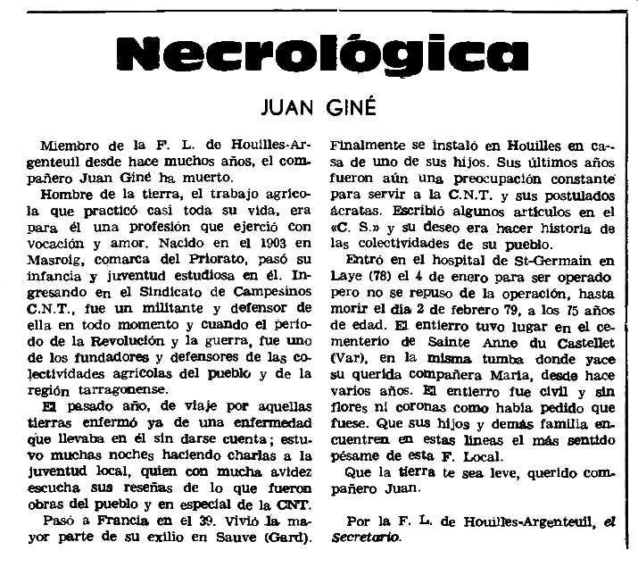 "Necrològica de Joan Giné Pedrol apareguda en el periòdic parisenc ""Le Combat Syndicaliste"" del 19 d'abril de 1979"